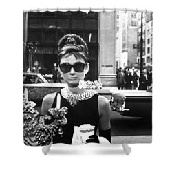 Audrey Hepburn Breakfast At Tiffany's Shower Curtain by Nomad Art