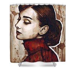 Audrey Hepburn Shower Curtain by Olga Shvartsur