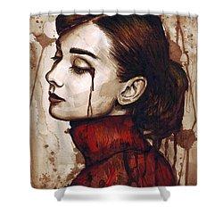 Audrey Hepburn - Quiet Sadness Shower Curtain by Olga Shvartsur