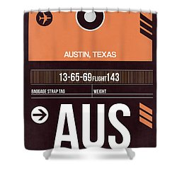 Austin Airport Poster 2 Shower Curtain by Naxart Studio