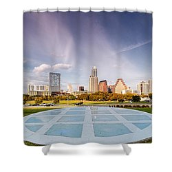 Austin Skyline From The Longs Center For The Performing Arts Shower Curtain by Silvio Ligutti