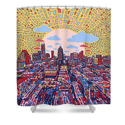 Austin Texas Abstract Panorama 2 Shower Curtain by Bekim Art