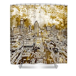 Austin Texas Abstract Panorama 6 Shower Curtain by Bekim Art