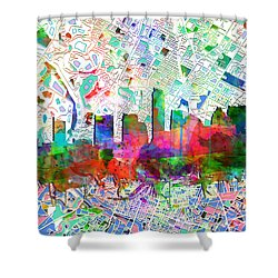 Austin Texas Abstract Panorama 7 Shower Curtain by Bekim Art