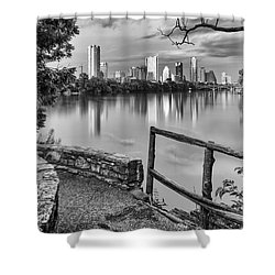 Austin Texas Skyline Lou Neff Point In Black And White Shower Curtain by Silvio Ligutti