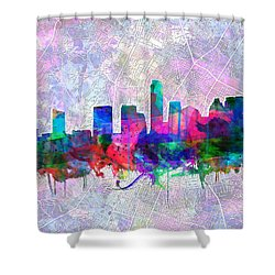 Austin Texas Skyline Watercolor 2 Shower Curtain by Bekim Art