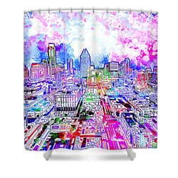 Austin Texas Watercolor Panorama Shower Curtain by Bekim Art