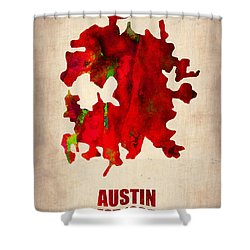 Austin Watercolor Map Shower Curtain by Naxart Studio