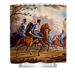 Austrian Hussars In Pursuit Shower Curtain by Conrad Gessner