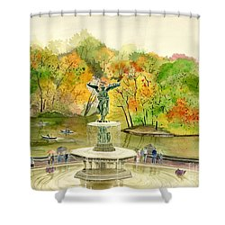Autumn At Central Park Ny Shower Curtain by Melly Terpening