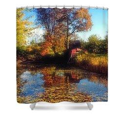 Autumn Barn Shower Curtain by Joann Vitali