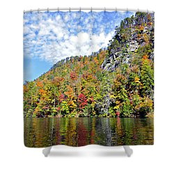 Autumn Colors On A Lake Shower Curtain by Susan Leggett