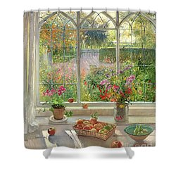 Autumn Fruit And Flowers Shower Curtain by Timothy  Easton