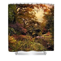 Autumn Garden Sunset Shower Curtain by Jessica Jenney