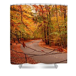 Autumn In Holmdel Park Shower Curtain by Angie Tirado