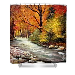 Autumn In The Forest Shower Curtain by Sorin Apostolescu