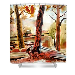 Autumn Jon Boats II Shower Curtain by Kip DeVore