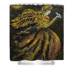 Autumn Moon Angel Shower Curtain by Carla Carson