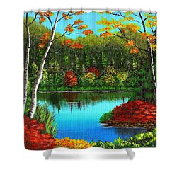 Autumn On The Water Shower Curtain by Cyndi Kingsley