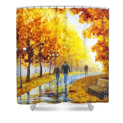 Autumn Parkway Shower Curtain by Veikko Suikkanen