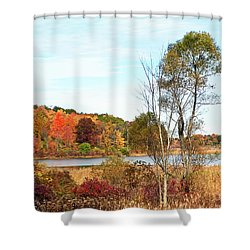 Autumn Pond Shower Curtain by Aimee L Maher Photography and Art Visit ALMGallerydotcom