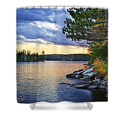 Autumn Sunset At Lake Shower Curtain by Elena Elisseeva