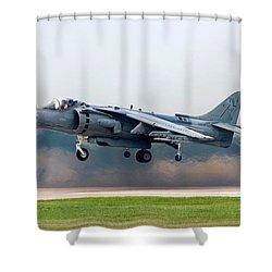 Av-8b Harrier Shower Curtain by Adam Romanowicz