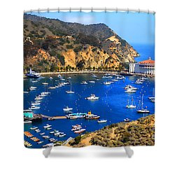Avalon Harbor Shower Curtain by Cheryl Young