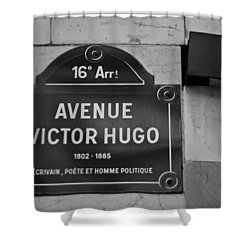 Avenue Victor Hugo Paris Road Sign Shower Curtain by Georgia Fowler