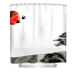 Awakening - Zen Landscape Art Shower Curtain by Sharon Cummings