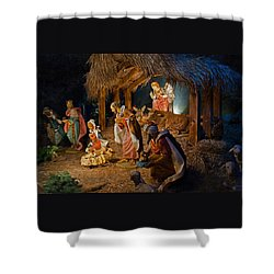 Away In The Manger  Shower Curtain by Susan  McMenamin