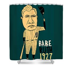 Babe Ruth New York Yankees Shower Curtain by Jay Perkins