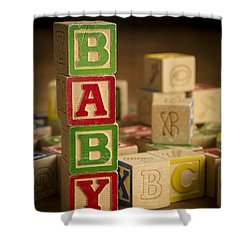 Baby Blocks Shower Curtain by Edward Fielding