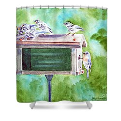Baby Blues - Eastern Bluebird Family Shower Curtain by Kathryn Duncan