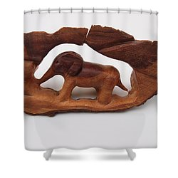 Baby Elephant Stuck In A Tree Shower Curtain by Robert Margetts