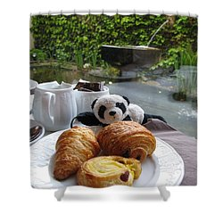 Baby Panda And Croissant Rolls Shower Curtain by Ausra Huntington nee Paulauskaite