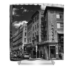 Bacco In Black And White Shower Curtain by Joann Vitali