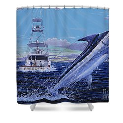 Back Her Down Off00126 Shower Curtain by Carey Chen