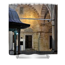 Back Lit Interior Of Mosque  Shower Curtain by Imran Ahmed