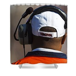 Back Of Mike London Head With Headset Virginia Cavaliers Shower Curtain by Jason O Watson