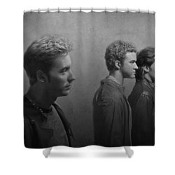Back Stage With Nsync Bw Shower Curtain by David Dehner