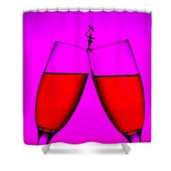Balance On Red Wine Cups Little People On Food Shower Curtain by Paul Ge
