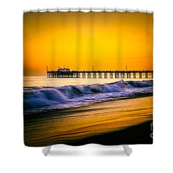 Balboa Pier Picture At Sunset In Orange County California Shower Curtain by Paul Velgos
