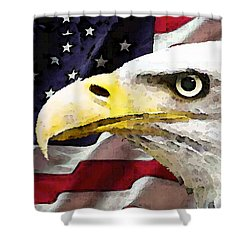 Bald Eagle Art - Old Glory - American Flag Shower Curtain by Sharon Cummings