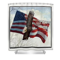 Bald Eagle  God Bless America Shower Curtain by Debbie Portwood