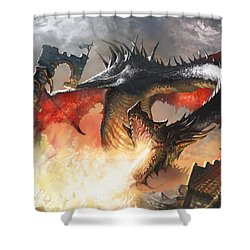 Balerion The Black Shower Curtain by Ryan Barger