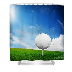 Ball On Tee On Green Golf Field Shower Curtain by Michal Bednarek