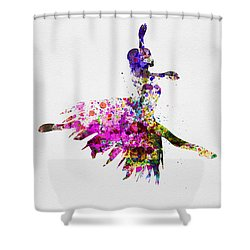 Ballerina On Stage Watercolor 4 Shower Curtain by Naxart Studio