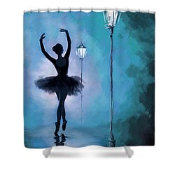 Ballet In The Night  Shower Curtain by Corporate Art Task Force