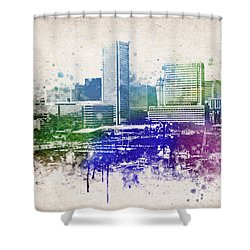 Baltimore City Skyline Shower Curtain by Aged Pixel